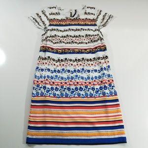 Kenzie Floral & Stripped Shift Dress Size Medium